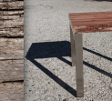 Marri and Stainless steel Natural edge Lamp Table
